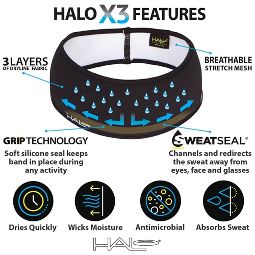 Super Absorption Pullover Headband-Made in The USA New Halo Headband Sweatband X3